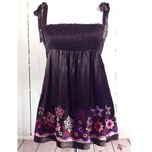 Bebe Brown Floral Embroidered Silk Tank Shirt